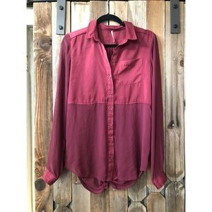 Maroon Silk and Sheer Free People Blouse